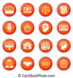 Banking icons set of red circles isolated on white...