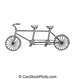 Illustration of tandem bicycle over white background