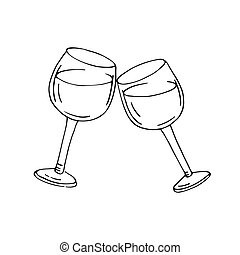 Two glasses of wine. Outlined