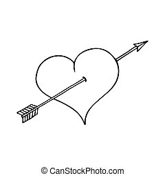 Heart and arrow on white background