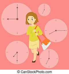 A Business Woman Late For Work Vector Illustration with Clock Background