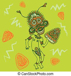 Funny papuan with mask and tambourine on green background