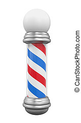 Classic Barber Shop Pole isolated on white background. 3D...
