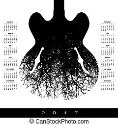 2017 calendar with a stunning image of a guitar - A 2017...