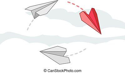 Paper airplanes. Vector illustration