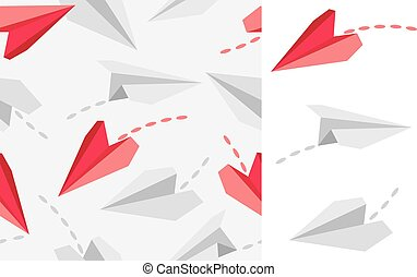 Paper airplanes isolated on white and seamless pattern....