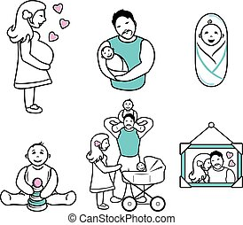 Family. Six cartoon contour drawings. Vector illustration