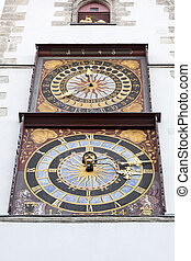 Historic tower clocks on the Goerlitz town hall, Germany