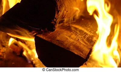 Burning wood in a brazier - Wood burning in the barbecue...