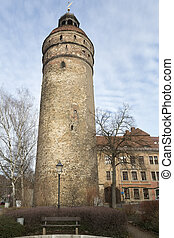Historic Nikolaiturm tower in the town of Goerlitz, Germany