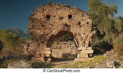 Zooming of ancient gate in Carian city Nysa, Sultanhisar,...