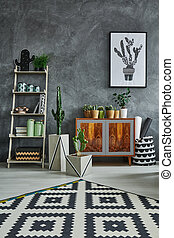 Room with ethnic dresser - Grey room with ethnic dresser,...