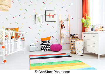 Baby room with white dresser - Light baby room with white...