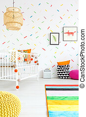Baby room with wall decor - Baby room with colorful wall...