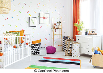 Baby room with dresser - Baby room with white dresser, cot...