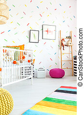 Child bedroom with cot - White child bedroom with cot and...