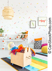 Child room with toy box - White child room with wooden toy...