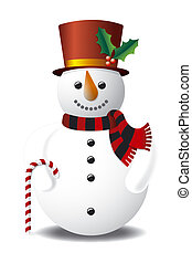Snowman with Top Hat - Illustration of Snowman with Top Hat,...