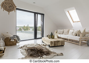 Attic room with balcony - White attic room with balcony and...