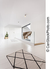 Interior with glass balustrade - Villa interior with glass...