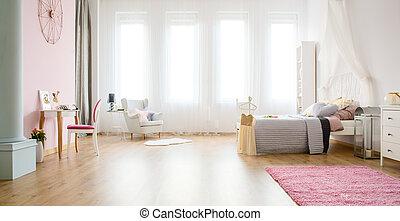 Light bedroom with floor panels