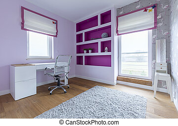 Room for young girl with purple decorations