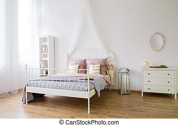 White bedroom with double bed