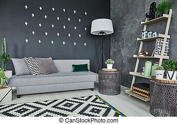 Black cactus wall decor - Room with black cactus wall decor...