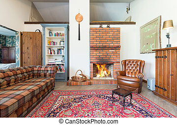 Rustic living room with fireplace - Rustic cozy living room...