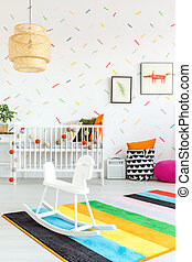 Baby room with rocking horse - White baby room with wooden...