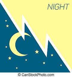 Vector crescent moon and stars night concept. Illustration...