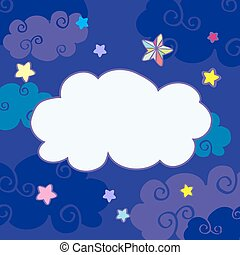 Vector nighttime cartoon clouds frame. Sweet dream with star...