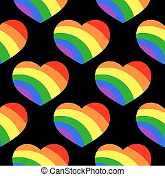 Gay LGBT seamless pattern with rainbow hearts. Background...