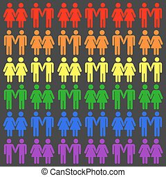 Vector gay LGBT seamless pattern. Gay and lesbian rainbow...