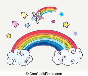 Hand drawn cartoon rainbow, clouds and falling stars....
