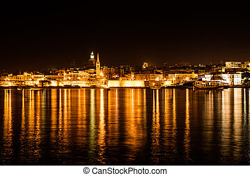 La Valetta - Malta - Landscape of la Valetta at night