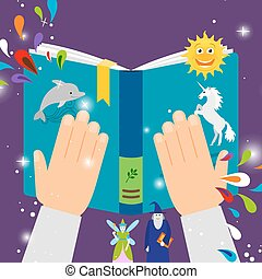Fairy tale kids book, top view vector illustration