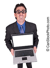 Business geek with laptop - Businessman geek standing and...