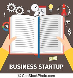 Reading book about business startup, top view. Vector...