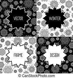 Frames set with snowflakes - Black and white frames set with...