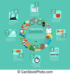 Healthy nutrition and fitness activity infographic
