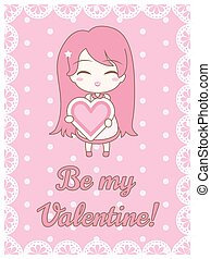 Love card. Cute girl holding heart, with text. On pastel pink polka dot background.