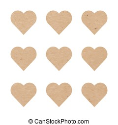 Craft paper hearts - Vector illustration of craft paper...