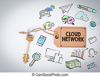 Cloud Network. Key on a white background