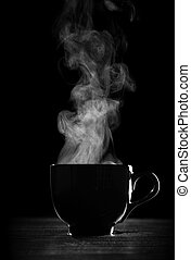 Black coffee cup with steam