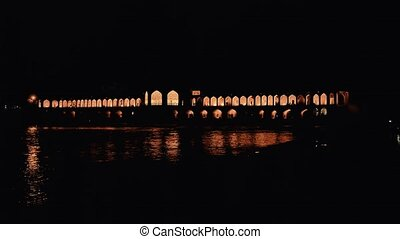 Khaju Bridge Isfahan - Zayandeh River flowing under Khaju...