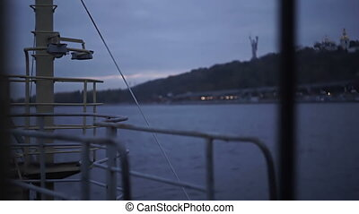 Detail of an old ship's deck at twilight