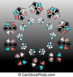 Christmas abstract patterns in form of crystal frosty snowflakes.