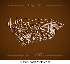 Tuscany Landscape hand drawn illustration - Tuscany...