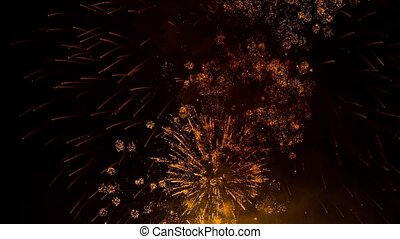 Lots Of Bright Fireworks Light Up Over Night Sky - This is a...